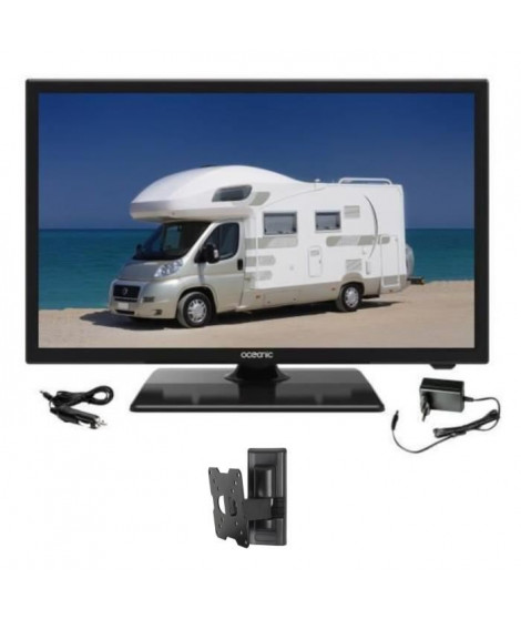 OCEANIC TV LED Camping Car + Support TV mural inclinable - TV Full HD 55cm (21,5'') 12-24V et 220V