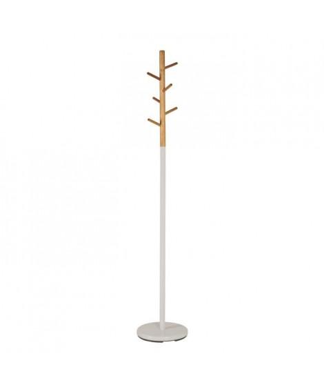 Porte-manteau Cliff en métal laqué blanc - H 175 x Ø 30 cm - 6 crochets en bois massif - Vert bambou