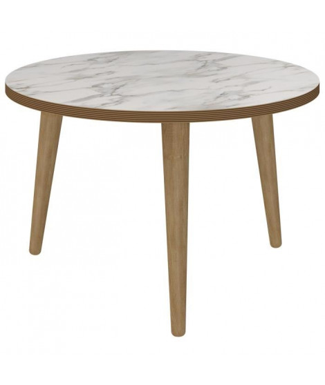 ROCK Table basse ronde scandinave effet marbre - Ø 60 cm