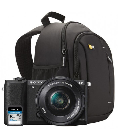 SONY Alpha 5100LB Appareil photo numérique Hybride 24 MP Noir + Carte mémoire SDHC 8Go + Sac a dos