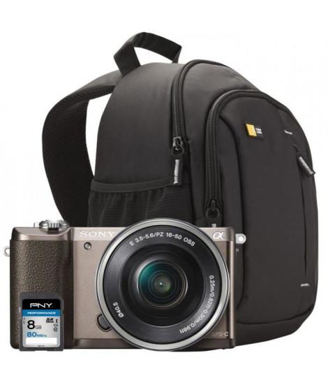 SONY ILCE5100LT Appareil photo numérique Hybride 24 MP Brun + Carte mémoire SDHC 8Go + Sac a dos