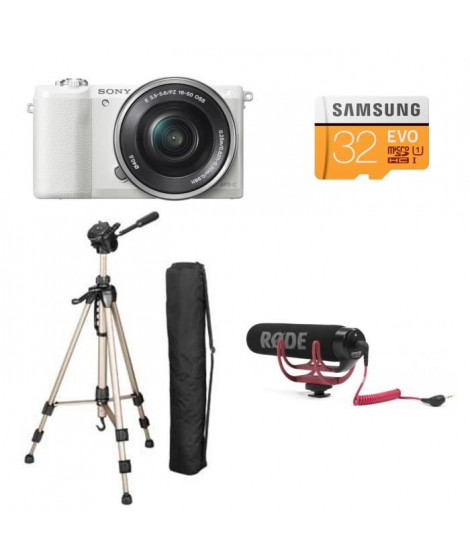 Appareil Photo Hybride A5100LW  + Samsung Carte Micro SD 32Go + HAMA STAR 61 Trepied photo + RODE Microphone compact