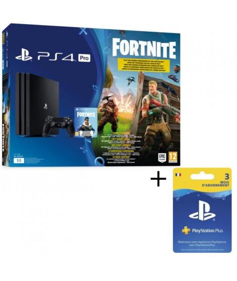 Pack PS4 PRO Noire 1 To + Fortnite + Abonnement Playstation Plus 3 Mois