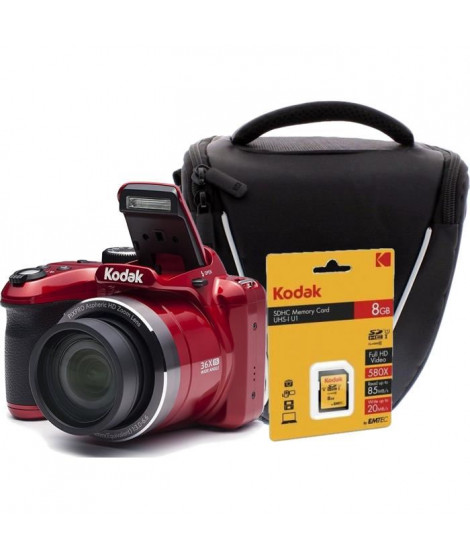 KODAK AZ365 Appareil photo numérique Bridge - 16 mégapixels - Grand angle 24 mm + Carte mémoire SDHC 8GB + Sacoche