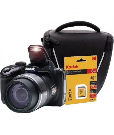 KODAK AZ521-BK Appareil photo Bridge 16 Mp - Zoom X52 + Carte mémoire SDHC 8GB + Sacoche