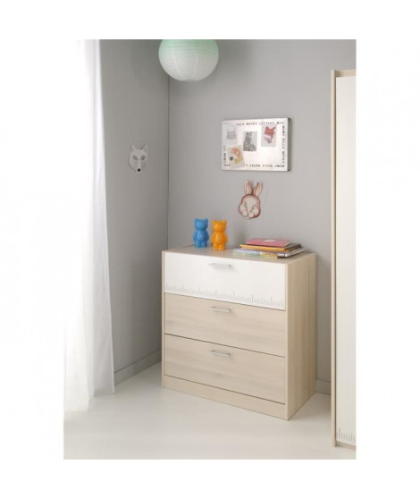 CHARLEMAGNE Commode contemporain Décor acacia et blanc - L 78 cm