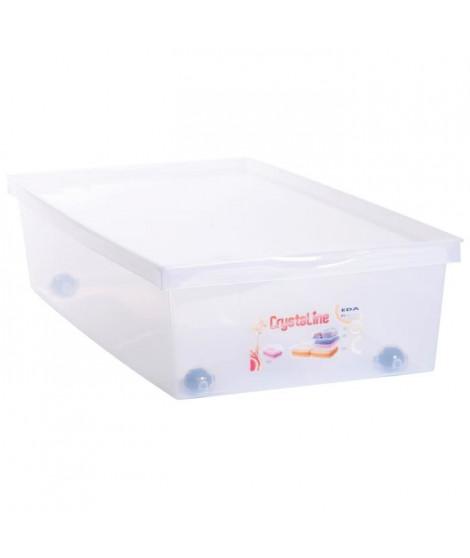 EDA PLASTIQUE Coffre de rangement dessous de lit 33 L avec roulettes - Naturel - 72,7 x 39,5 x 17 cm