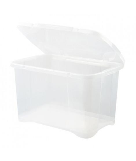 EDA PLASTIQUE Boîte de rangement Clip'Box 40 L - Naturel couvercle avec charniere - 54 x 36 x 33 cm