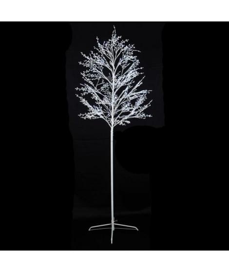 Arbre boules de neige - 150 LED blanc froid - Plastique et métal - 1, 8 m - 18 branches - Avec transfo