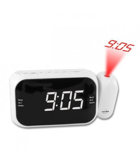 INOVALLEY RP211W Radio réveil projecteur - Led blanche - Radio FM PLLdouble alarme - Blanc