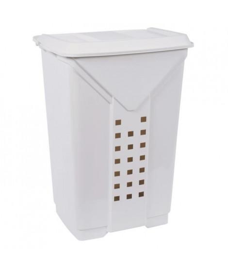 EDA PLASTIQUE Coffre a linge Prima 60 L - Blanc cérusé - 42 x 34,5 x 60 cm