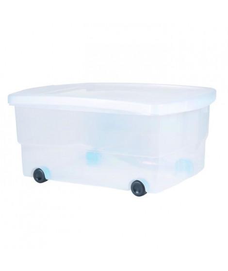 EDA PLASTIQUE Coffre de rangement dessous de lit 80 L avec roulettes - Naturel - 69 x 48 x 33,5 cm