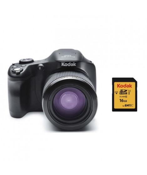 KODAK AZ651 Appareil Photo Bridge - Zoom x65 + KODAK Carte 16 Go