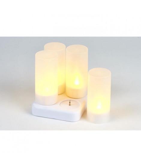 Set de 4 bougies LED + chargeur en PVC - H 10 x Ø 4 cm - Blanc - 1 LED