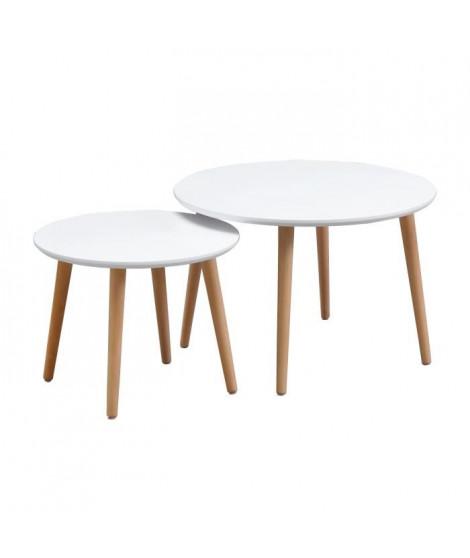 FINLANDEK 2 tables gigognes rondes INKERI scandinave - Blanc - L 60 x l 60 cm et L 45 x l 45 cm