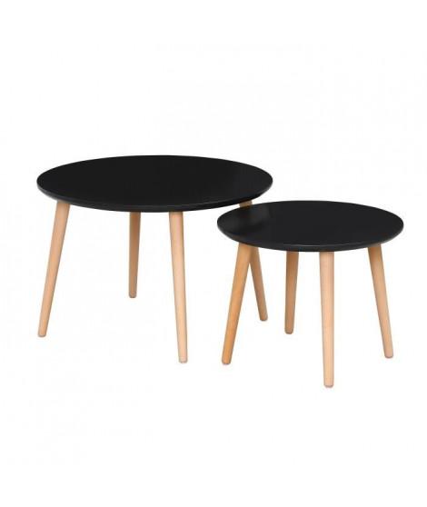 FINLANDEK 2 tables gigognes rondes INKERI scandinave - Noir - L 60 x l 60 cm et L 45 x l 45 cm