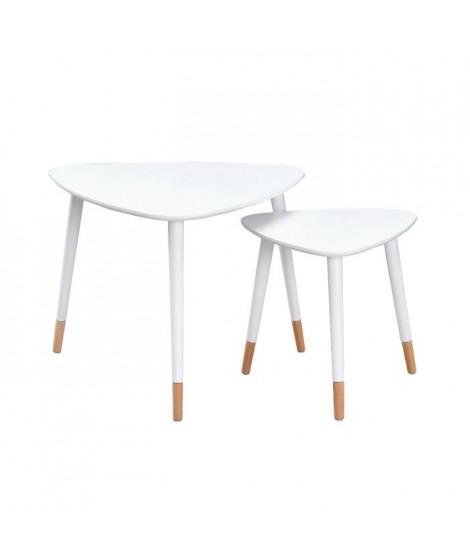 FINLANDEK 2 tables gigognes triangulaires LIMPIA scandinave - Blanc - L 60 x l 60 cm et L 40 x l 40 cm