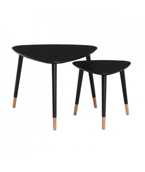 FINLANDEK 2 tables gigognes triangulaires LIMPIA scandinave - Noir - L 60 x l 60 cm et L 40 x l 40 cm