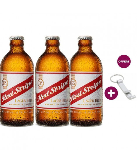 Red Stripe - Biere Lager - 4,7° - 3 x 33 cl + Beerfactory Décapsuleur Offert