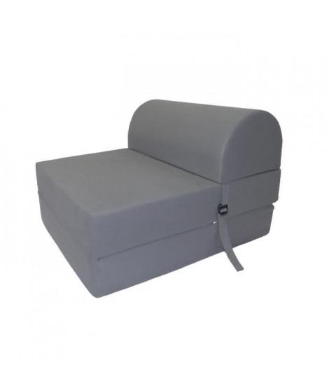 JUNE Chauffeuse 1 place - Tissu gris - Style contemporain - L 58 x P 75 cm