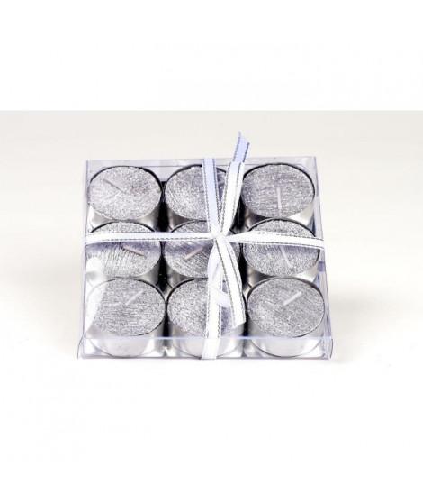Set de 9 bougies de Noël T-Light pailletées en cire - Argent