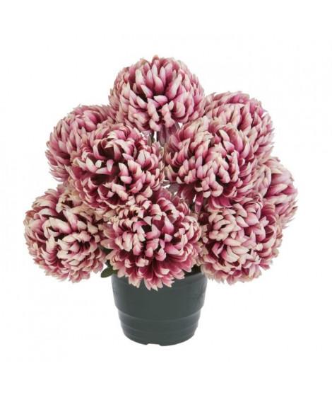UNE FLEUR EN SOIE Pot de chrysanthemes boules vieux rose - 36 cm