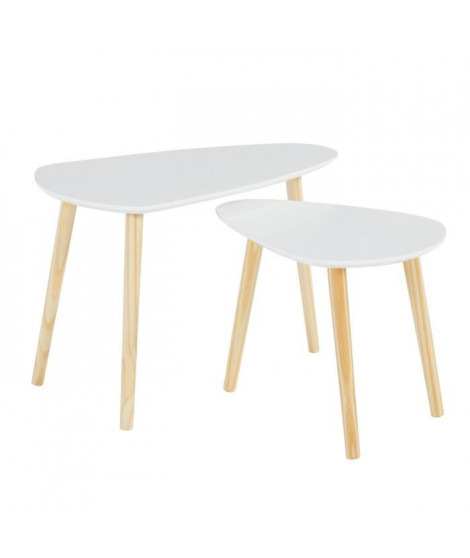 LITCHI Lot de 2 tables gigognes scandinave - MDF blanc laqué + pieds bois pin massif - L 70 x l 40 cm et L 58 x l 38 cm