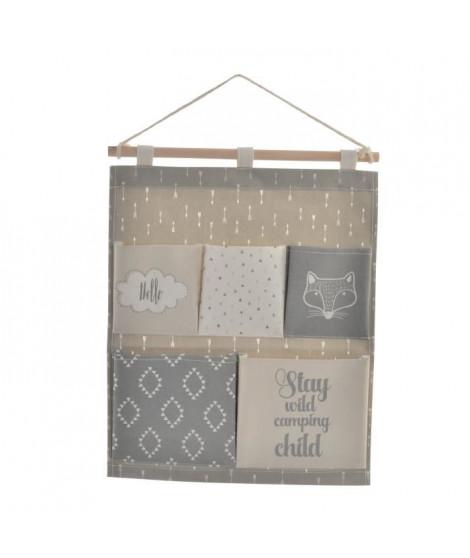 Organisateur en bois et polyester a suspendre - Pour enfant - 5 compartiments - 35 x 1,5 x 53 cm