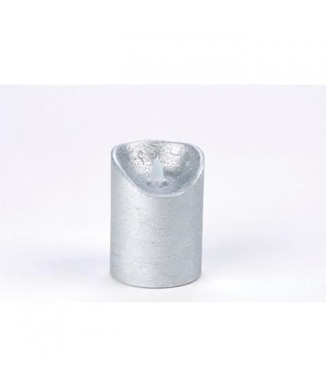 Bougie de Noël LED en paraffine - Fausse flamme - H 10 cm - Blanc chaud et argent