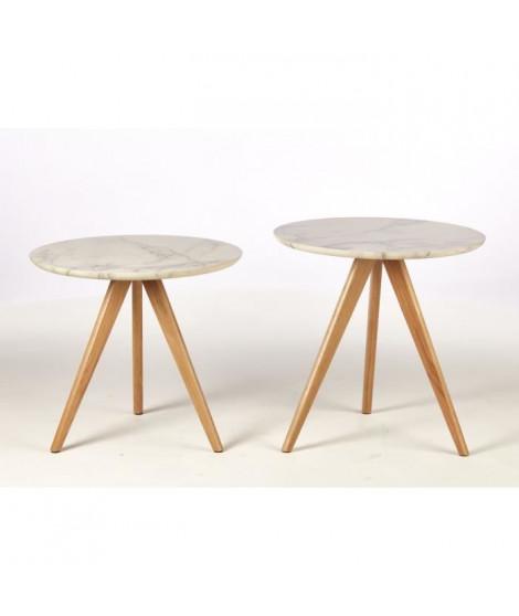 COPENHAGUE 2 Tables basses style contemporain décor blanc - 2 x L 50 x l 50 cm