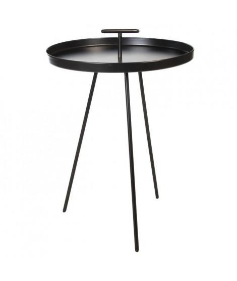 ABRIL Bout de canapé rond - Contemporain - Noir - Ø 48 cm