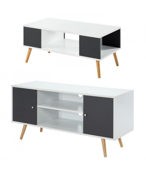 Ensemble table basse BABETTE gris anthracite et blanc + meuble TV BABETTE gris foncé et blanc