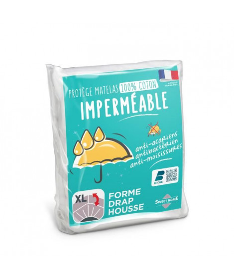 SWEETHOME Protege-matelas 100% coton - Imperméable - Anti-acariens - 140x190/200 cm