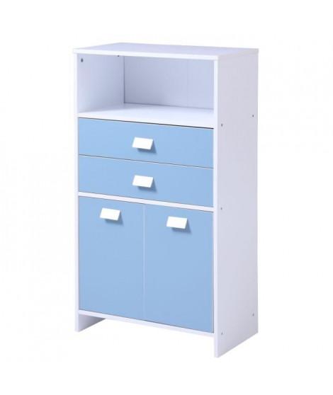 TOP Meuble bas de salle de bain L 60 cm - Blanc et bleu mat