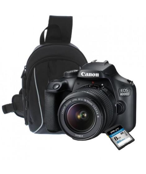 CANON EOS 4000D Appareil photo numérique REFLEX + PNY Carte mémoire SDHC 8 Go  + T'nB Sac a dos photo mono bretelle