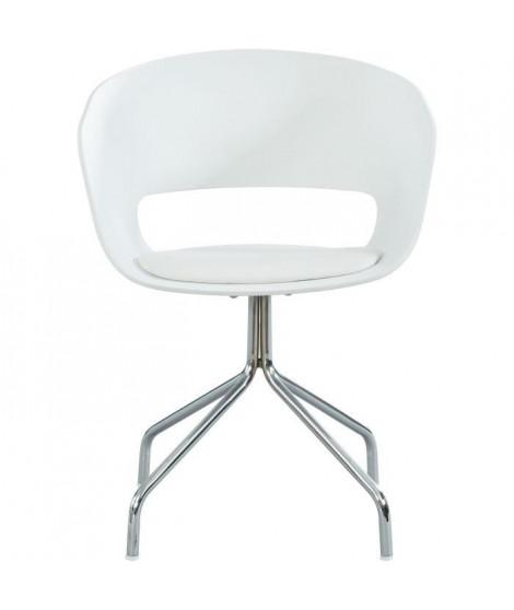 LORIS Chaise de bureau - Simili blanc - Style contemporain - L 58 x P 56 cm