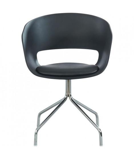 LORIS Chaise de bureau - Simili noir - Style contemporain - L 58 x P 56 cm