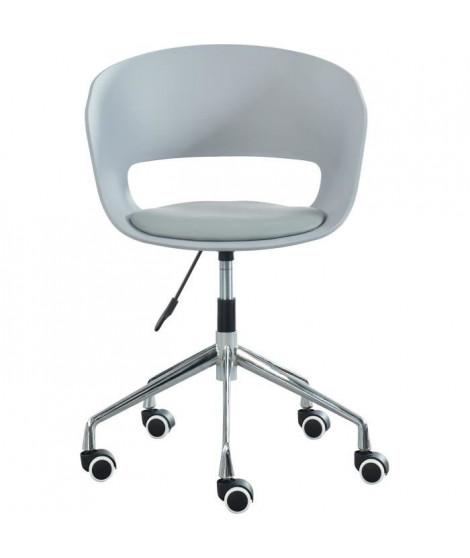 NOLAN Chaise de bureau - Simili gris - Style contemporain - L 62 x P 62 cm