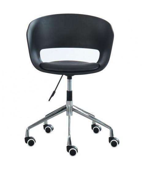NOLAN Chaise de bureau - Simili noir - Style contemporain - L 62 x P 62 cm