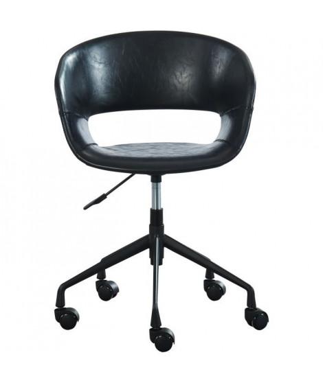SOLAL Chaise de bureau - Simili noir - Style contemporain - L 62 x P 62 cm