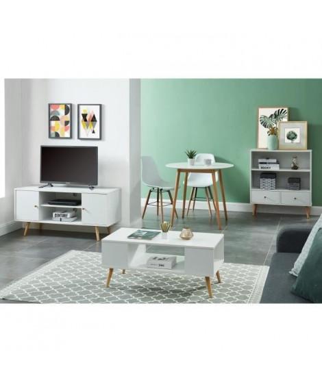 ANNETTE Ens meuble séjour scandinave blanc laqué satiné - Meuble TV L116, table basse L90, bibliotheque L80 et table a manger…