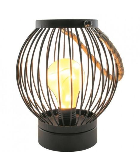 THE HOME DECO LIGHT Lanterne filaire - Ampoule LED Bistrot - 18 x 15 cm - Noir