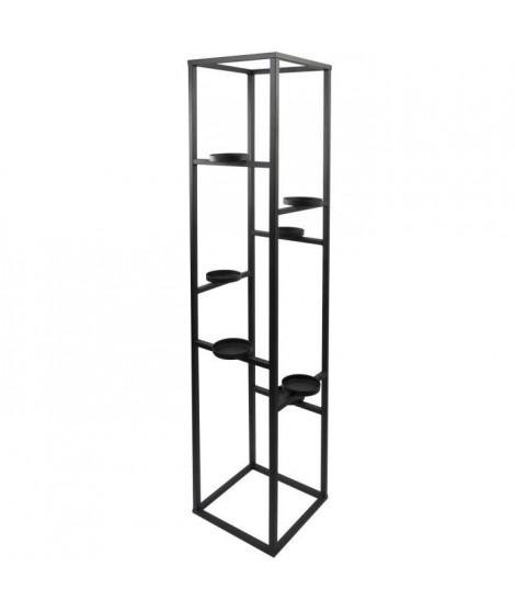 Porte-bougie en métal - 7 verres transparent - 21 x 21 x 90 cm - Noir