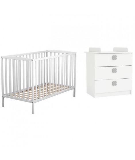 AT4 Lit Bébé a barreaux blanc 60 x 120 cm + CLOVER Commode a langer 3 tiroirs blanc perle
