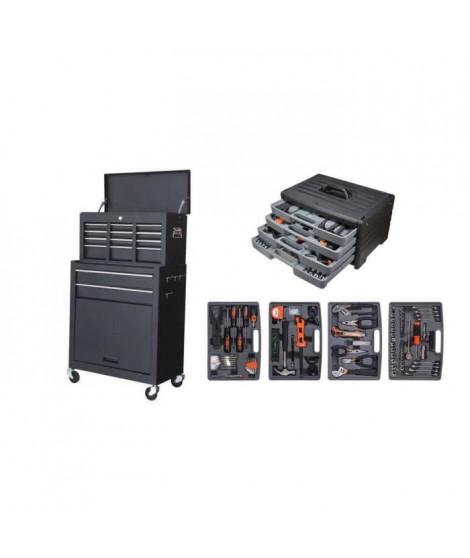MANUPRO Servante d'atelier a outils 8 compartiments avec sa mallette a outils 199 accessoires