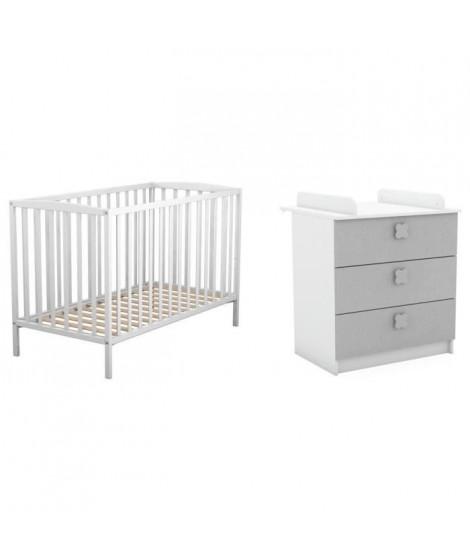 AT4 Lit Bébé a barreaux blanc 60 x 120 cm + DEMEYERE Commode a langer Clover 3 tiroirs blanc mat et lin tissé