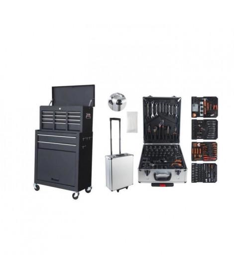 MANUPRO Servante d'atelier a outils 8 compartiments avec sa valise a outils 999 accessoires