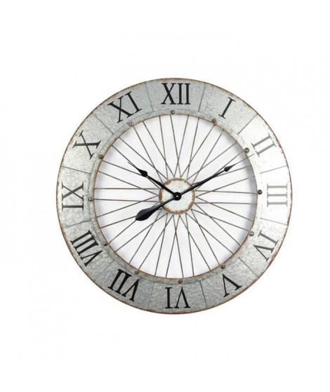 Horloge murale effet métal - Acier - Ø80x5 cm - Style classique et industriel - 1 pile LR06 (AA, 1,5V) non fournie