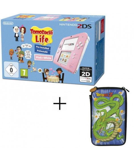 2DS Rose + Tomodachi Life + Housse 2DS Konix Dragon Ball Shenron