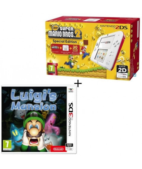 Console 2DS Rouge + New Super Mario Bros 2 + Luigi's Mansion Jeu 3DS